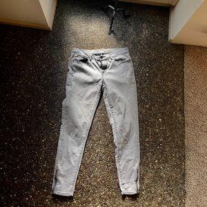 Light gray zipper ankle crop jeans